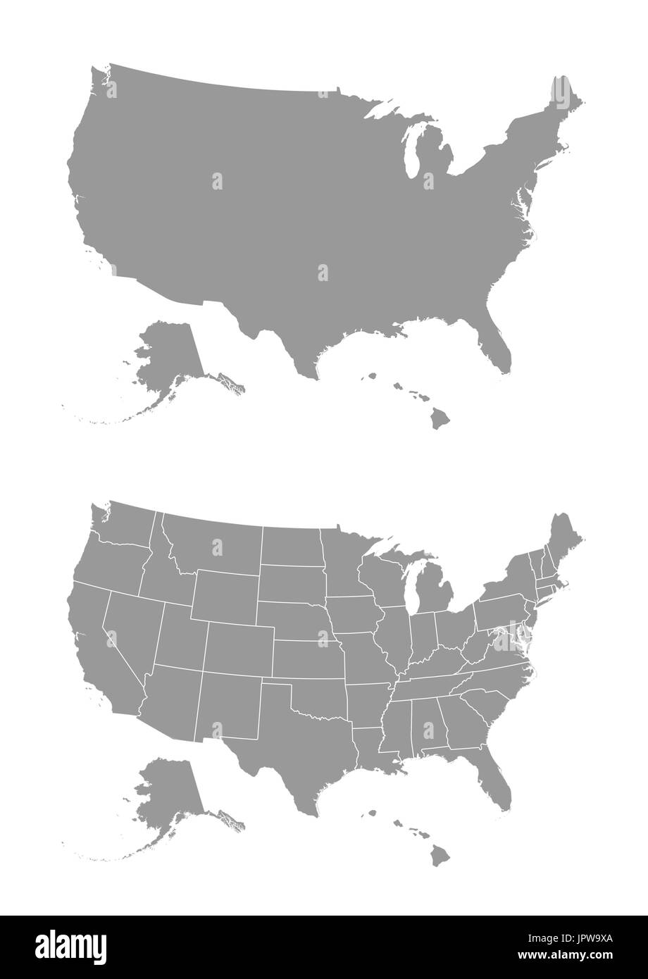 Vector map of the United States of America Stock Vector