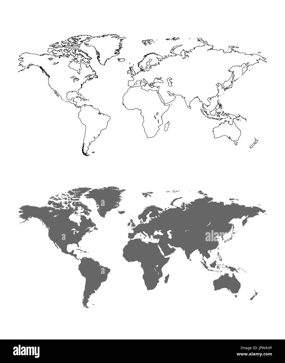 Vector Outline of the world map - Stock Image