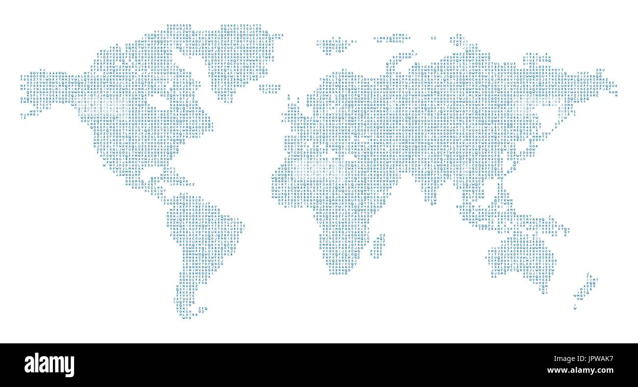 Vector World map with english alphabet - Stock Image