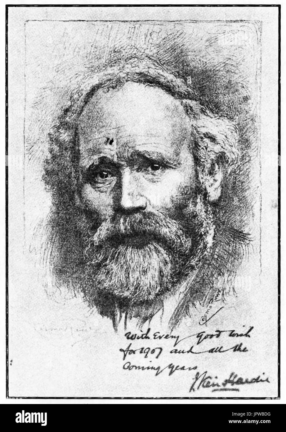 A 1907 signed portrait of James Keir Hardie (founder of British Labour Party) - Stock Image