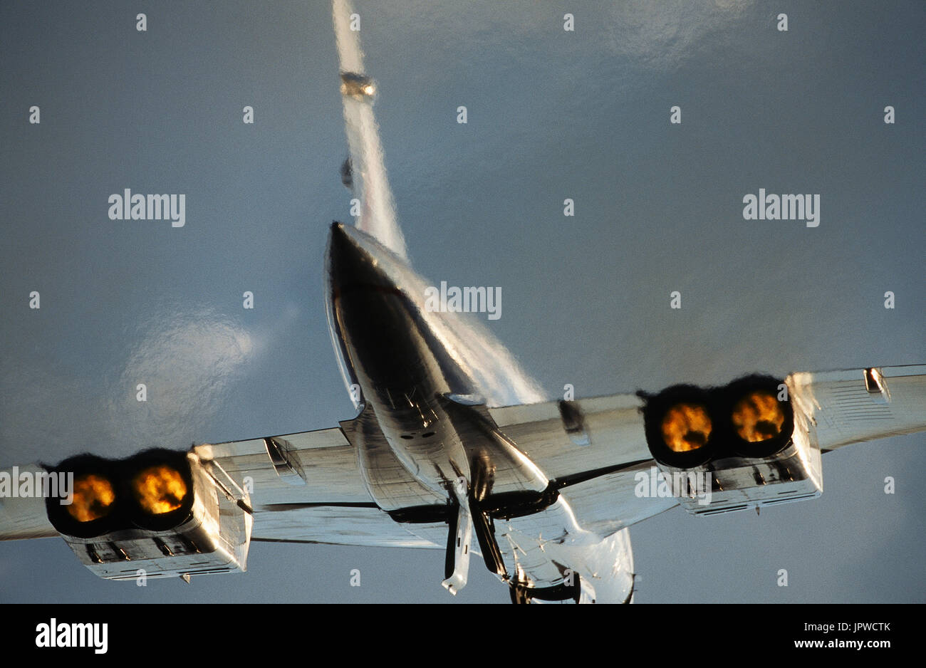 British Airways Aerospatiale BAC Concorde taking-off with afterburners Stock Photo