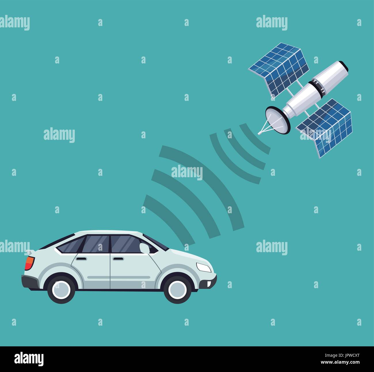 color background of car vehicle with satellite search - Stock Image