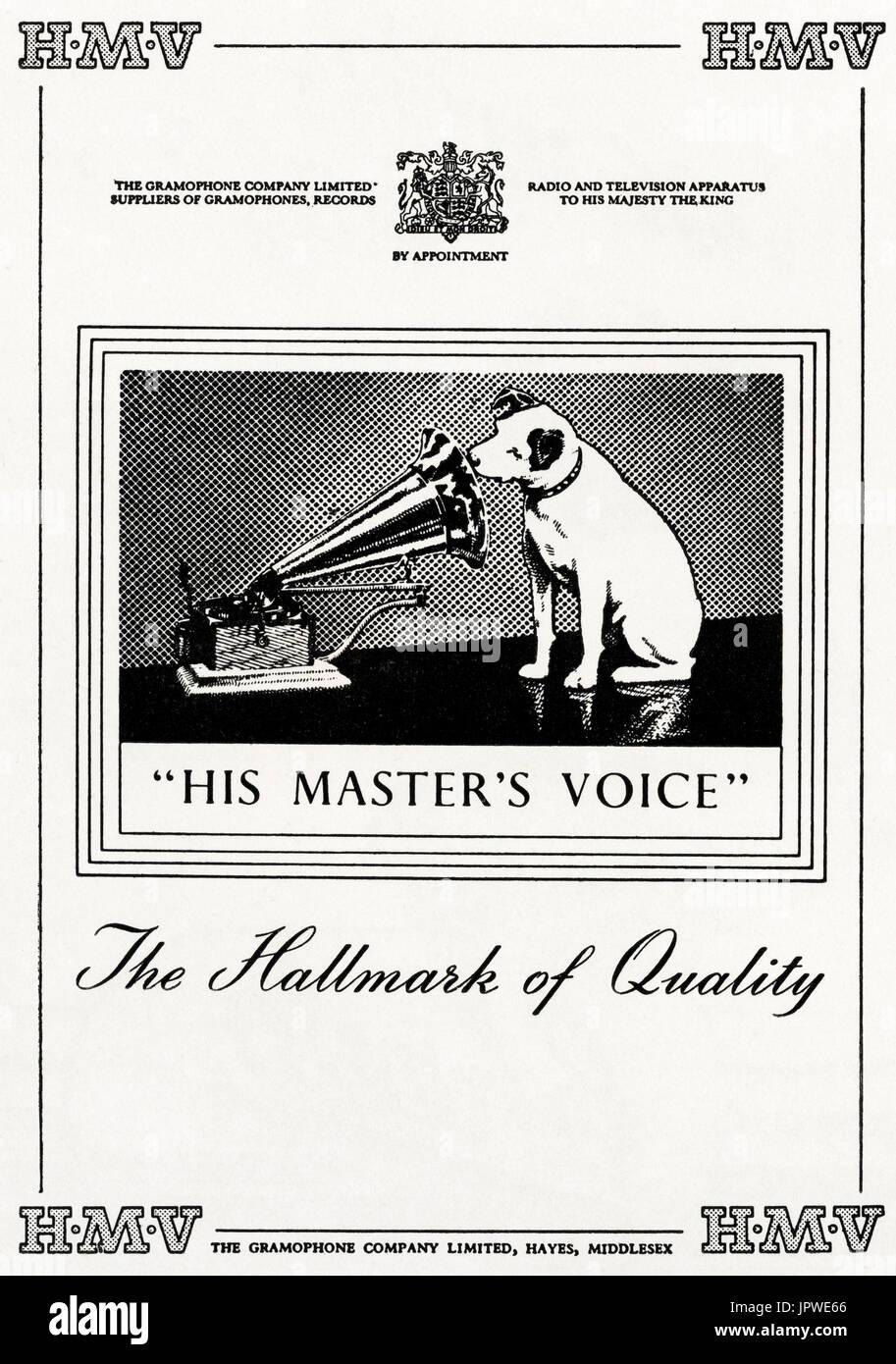 1950s Old Vintage Original Advert Advertising Hmv His Masters Voice