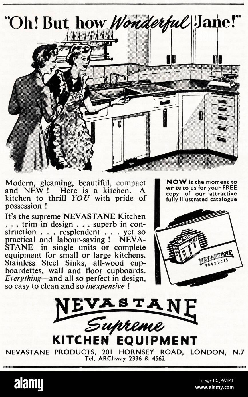 1950s old vintage original advert advertising Nevastane kitchen ...