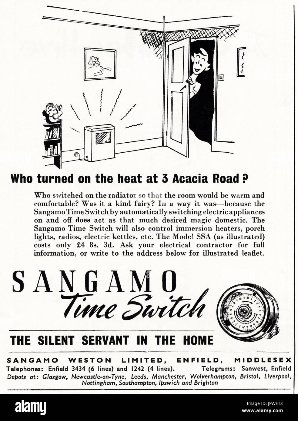 1950s old vintage original retro advert advertising Sangamo time switch for household electric appliances in magazine circa 1950 - Stock Image