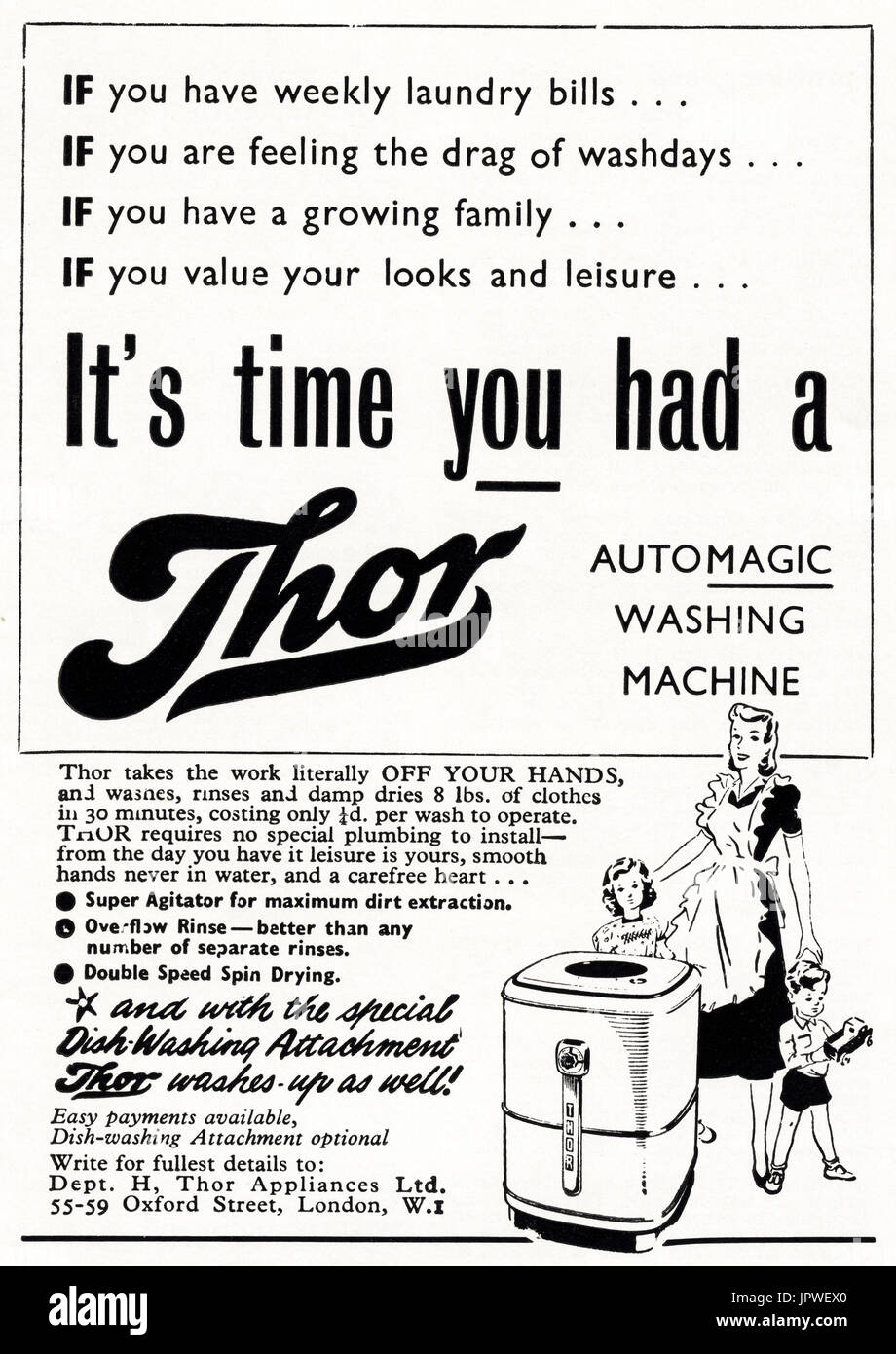 1950s old vintage original retro advert advertising Thor