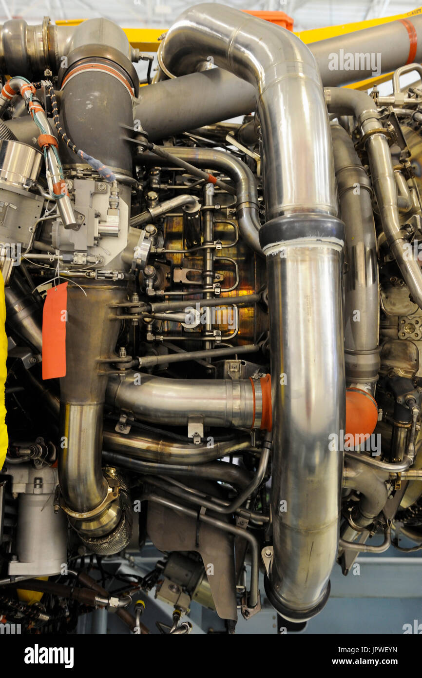 Engine Alliance GP7270 jet-engine pipes and tubes at the Paris Airshow Salon-du-Bourget 2011 - Stock Image