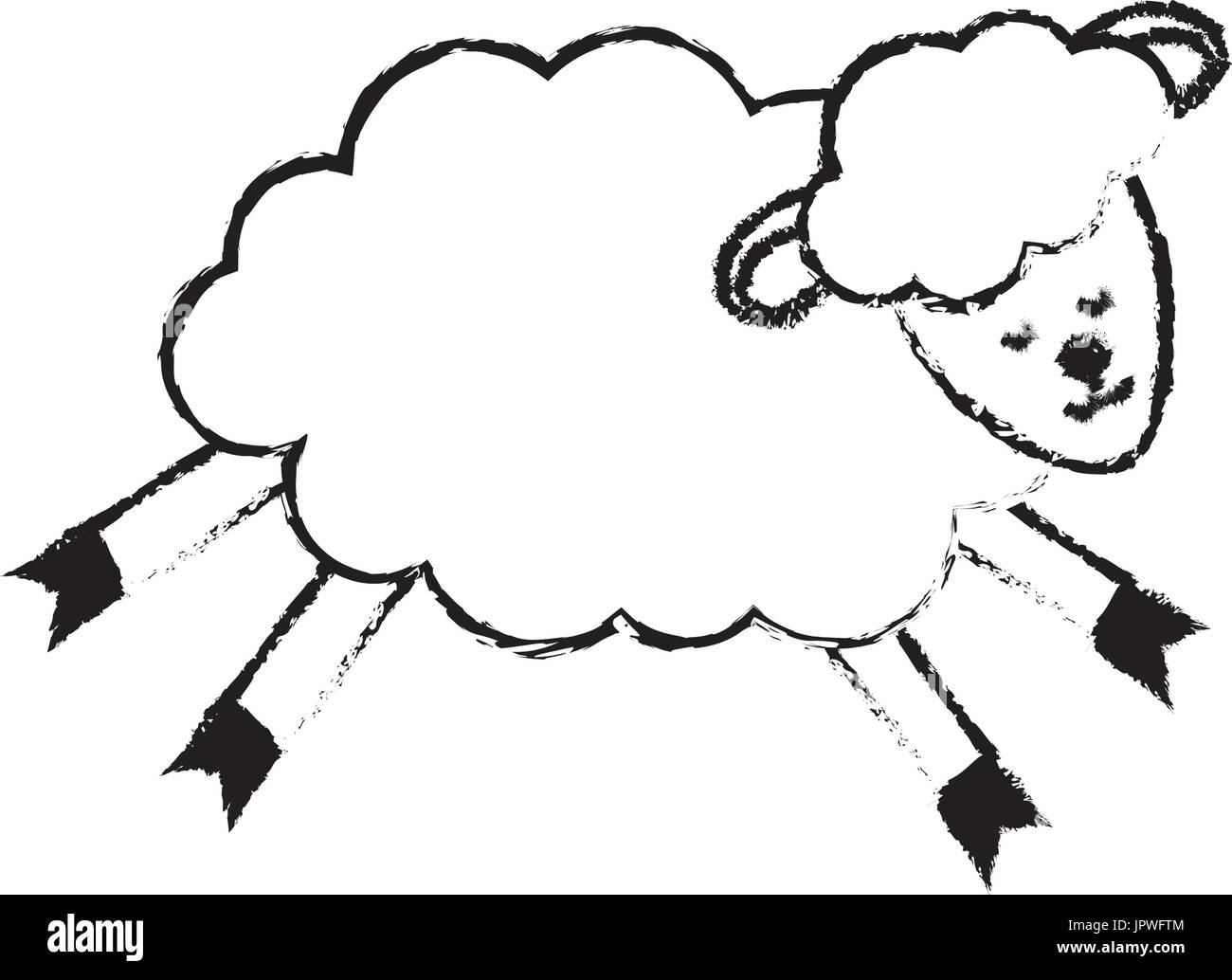 figure cute sheep animal with wool design - Stock Vector