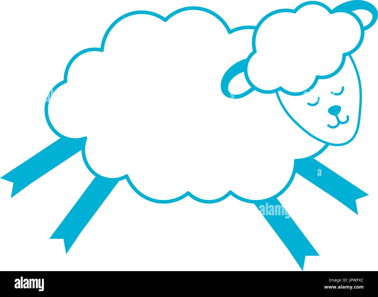 silhouette cute sheep animal with wool design - Stock Vector