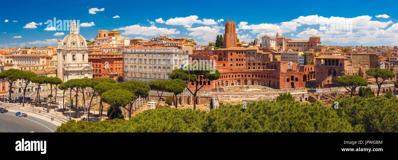 Panoramma of ancient Trajan Forum, Rome, Italy - Stock Image