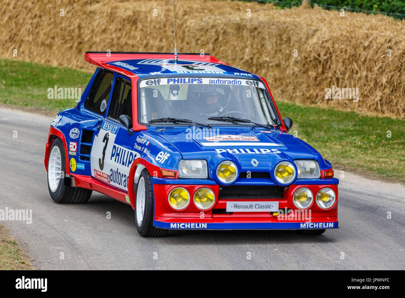 1985 Renault 5 Maxi Turbo rally car with driver Jean Ragnotti at the 2017 Goodwood Festival of Speed, Sussex, UK. - Stock Image