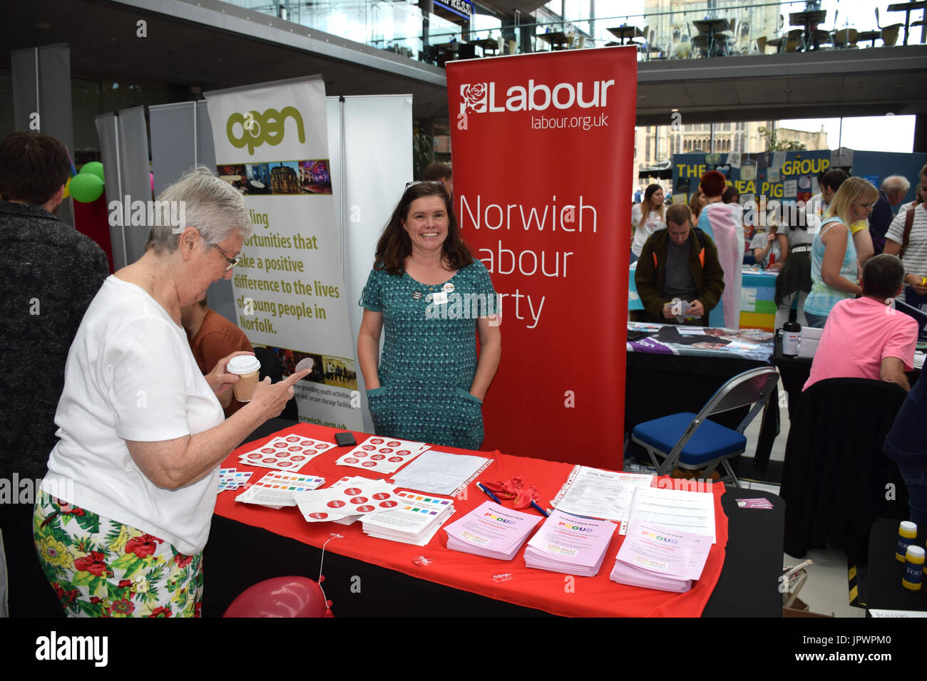 Labour Party stall at Pride 2017, Norwich UK, 29 July 2017 - Stock Image