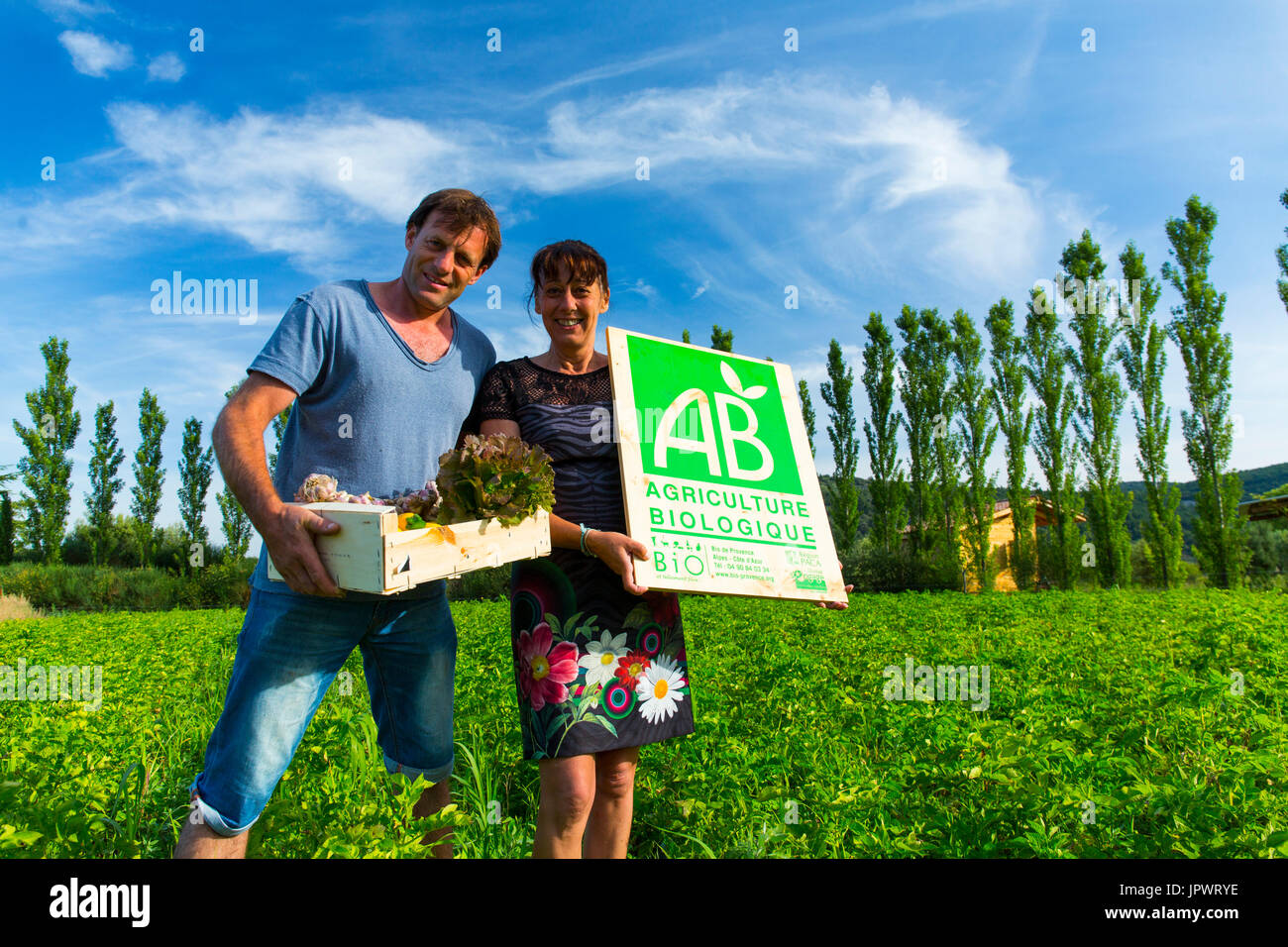 Organic farming and eco-cottage Les Terres du Vancon, Les Demesses, Volonne, Val de Durance, Alpes Haute Provence, France, Europe - Stock Image