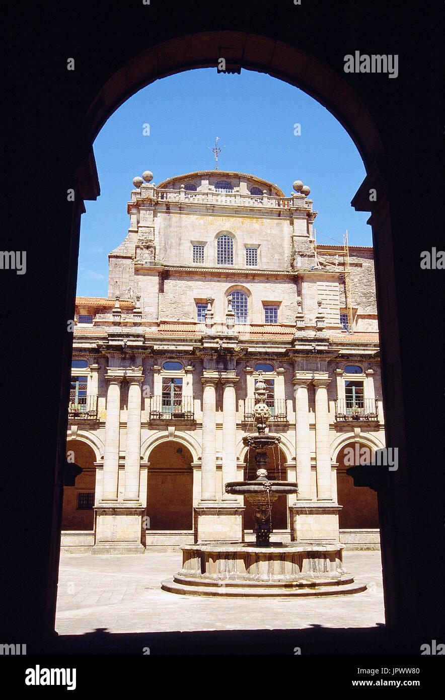 Cloister of San Martin Pinario monastery. Santiago de Compostela, La Coruña province, Galicia, Spain. - Stock Image