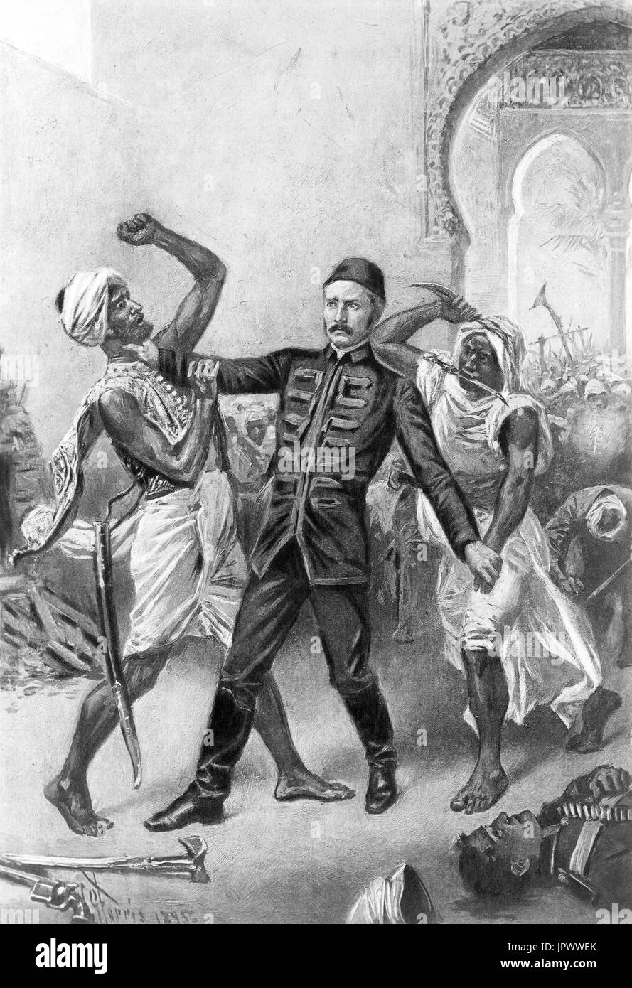 CHARLES GEORGE GORDON (1833-1885) British Army officer. Illustration of his death in Khartoum by American artist Jean Ferris - Stock Image