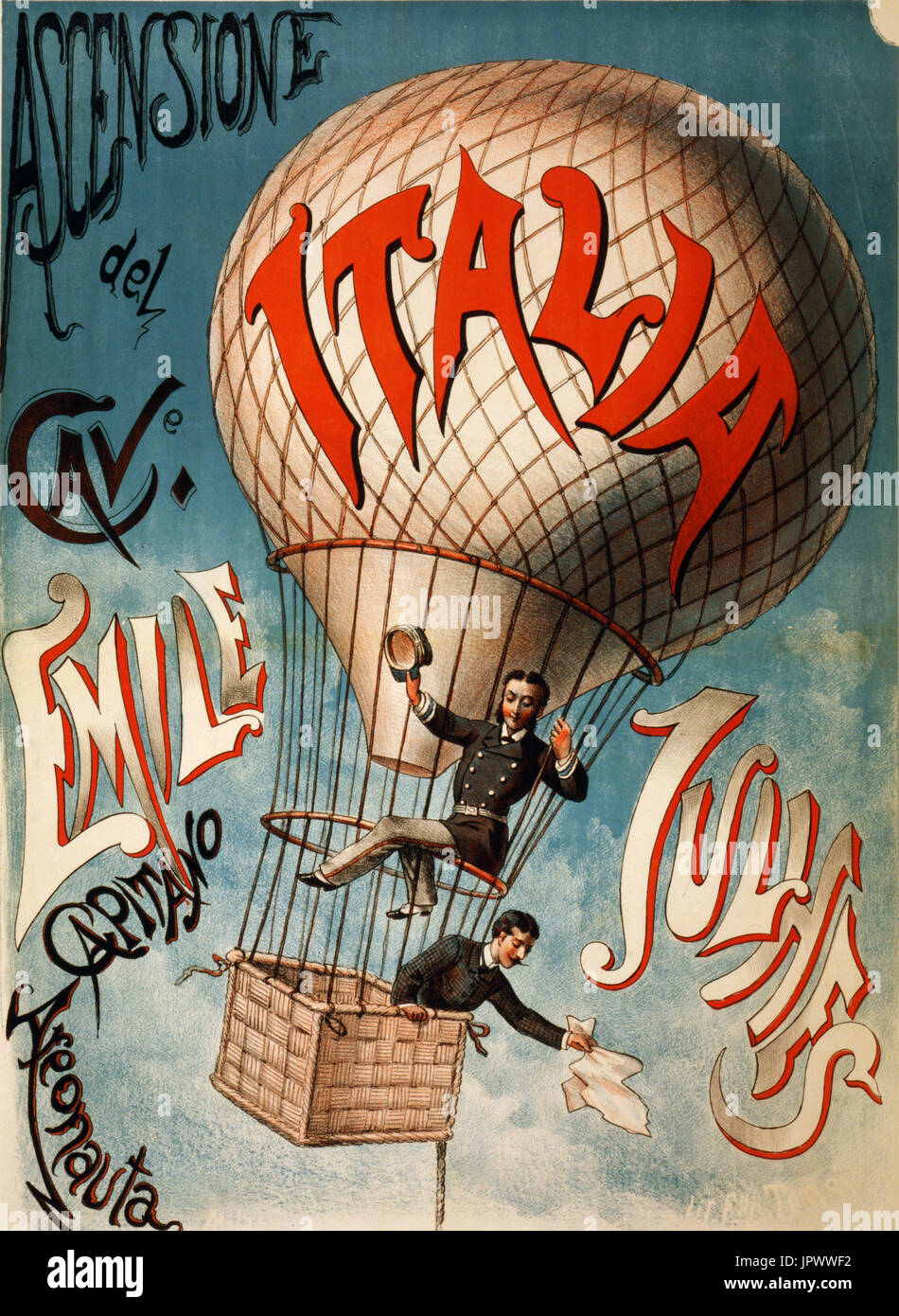 EMILE-LOUIS  JULHES (1855-1895)  French balloonist (upper figure) who died after a crash near Le Havre in July 1885. - Stock Image