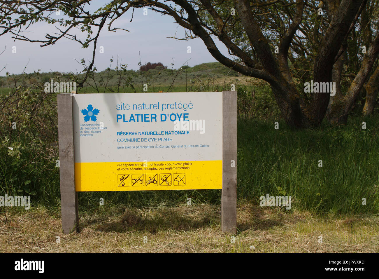 Information board of the Reserve Platier Oye - France Stock Photo