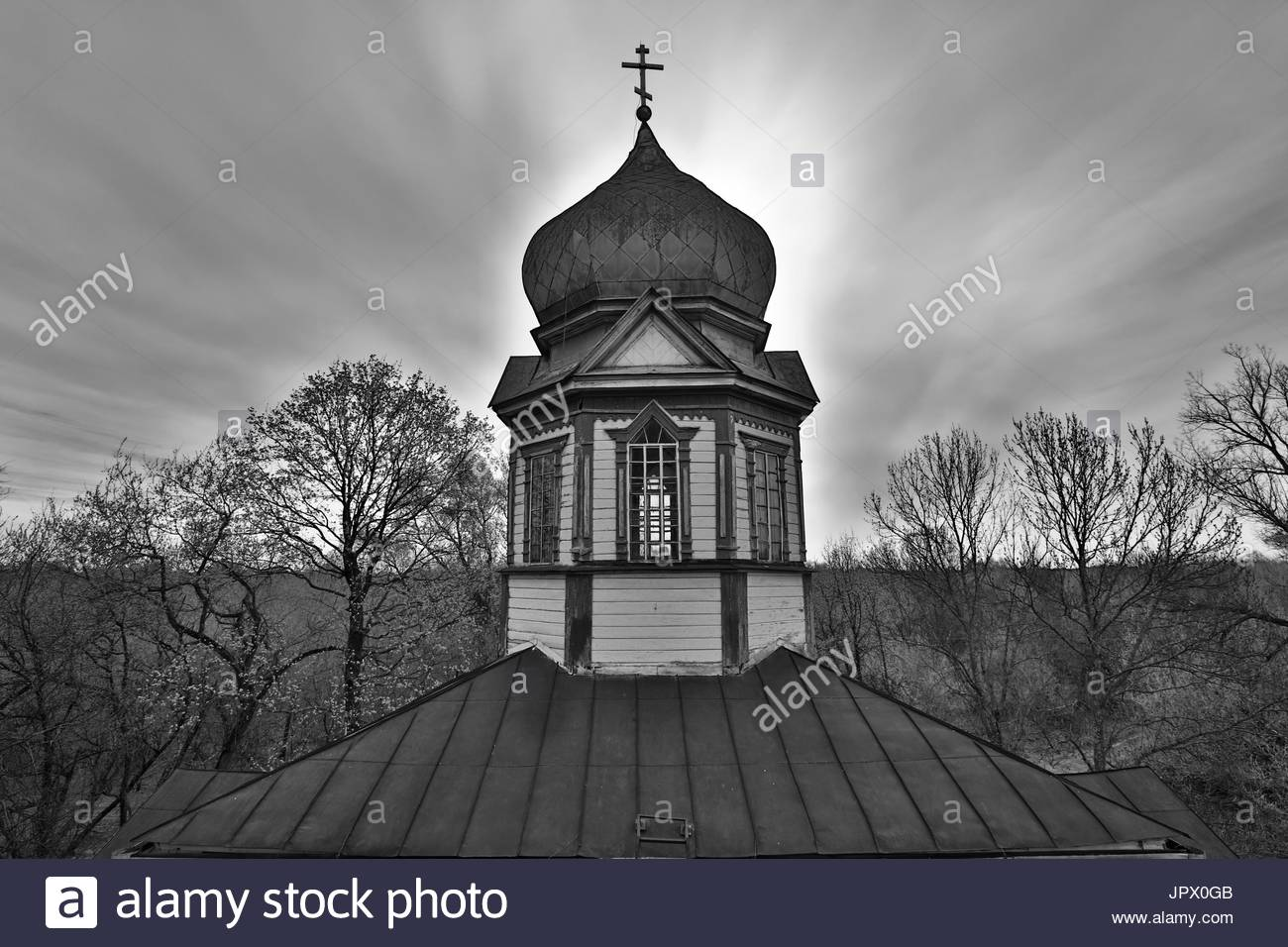 Bell tower of an abandoned church - Chernobyl Area Ukraine - Stock Image