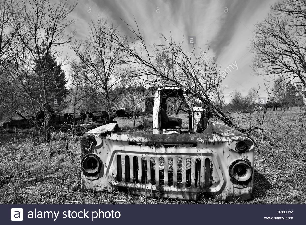 Abandoned vehicle - Chernobyl area Ukraine - Stock Image