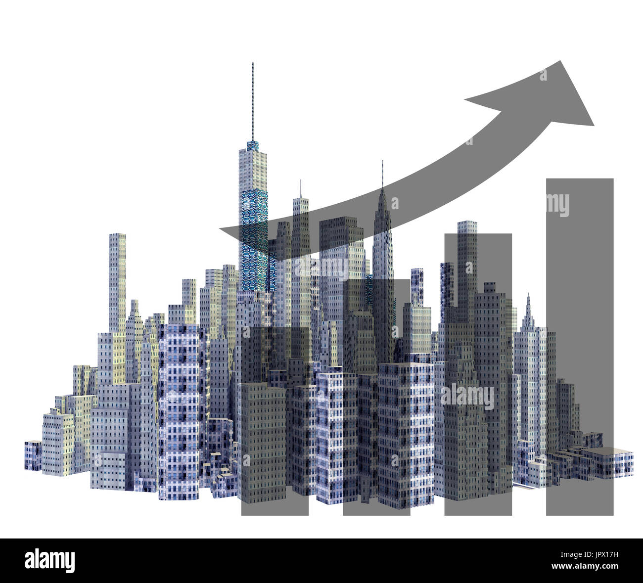 Rendered 3d city skyline with financial growth isolated on white background - Stock Image