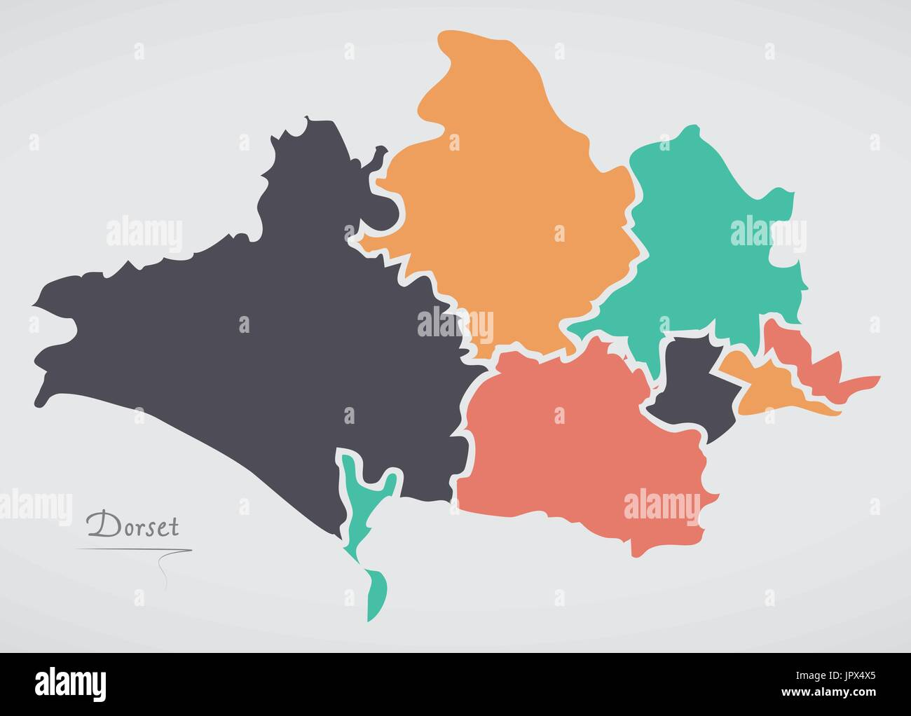 Dorset England Map with states and modern round shapes Stock Vector on