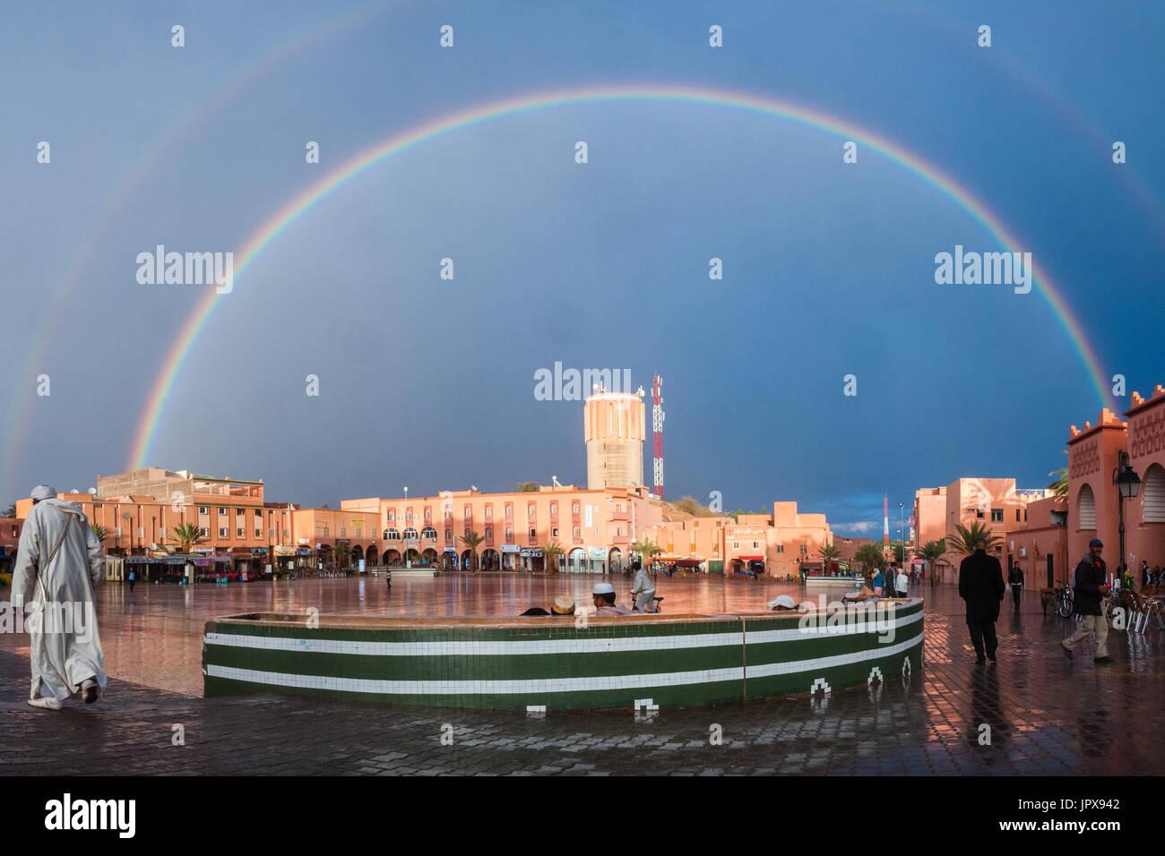 Rainbow in Ouarzazate Stock Photo