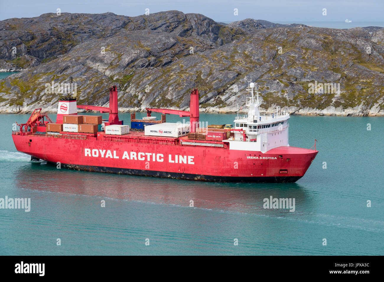 Container ship Irena Arctica (424 TEU) sailing up Kuannersooq Fjord into Paamiut (Frederikshåb) Sermersooq Greenland Stock Photo