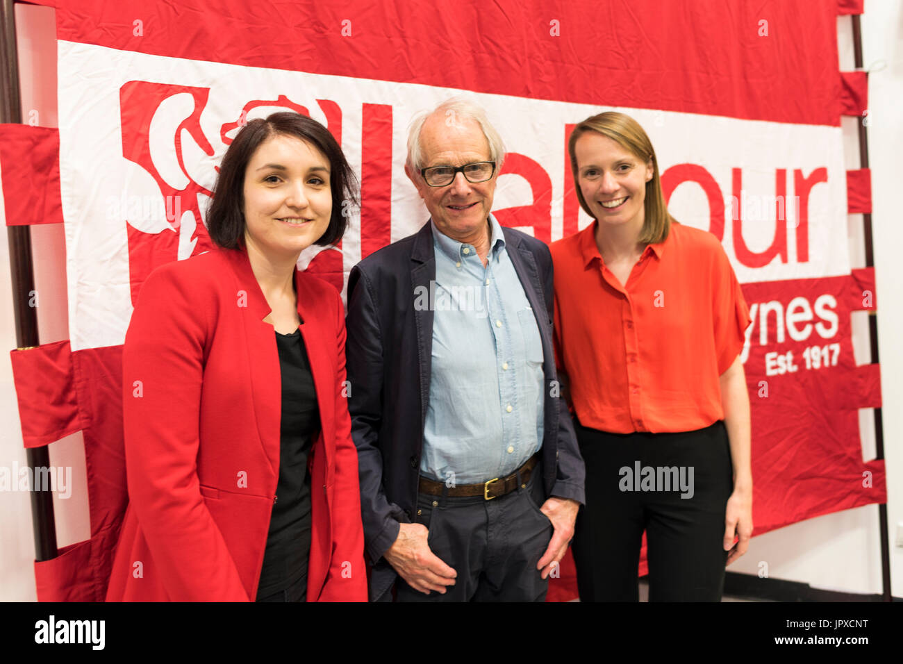 Film director Ken Loach with the two Labour candidates for Milton Keynes, Charlene Pullen and Hannah O'Neill in 2017 - Stock Image
