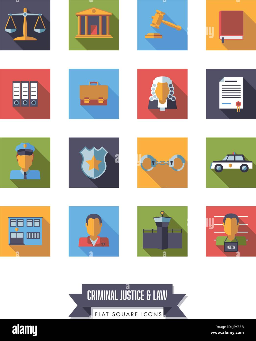 Collection of square law and criminal justice icons. Flat design long shadow round symbols. - Stock Vector