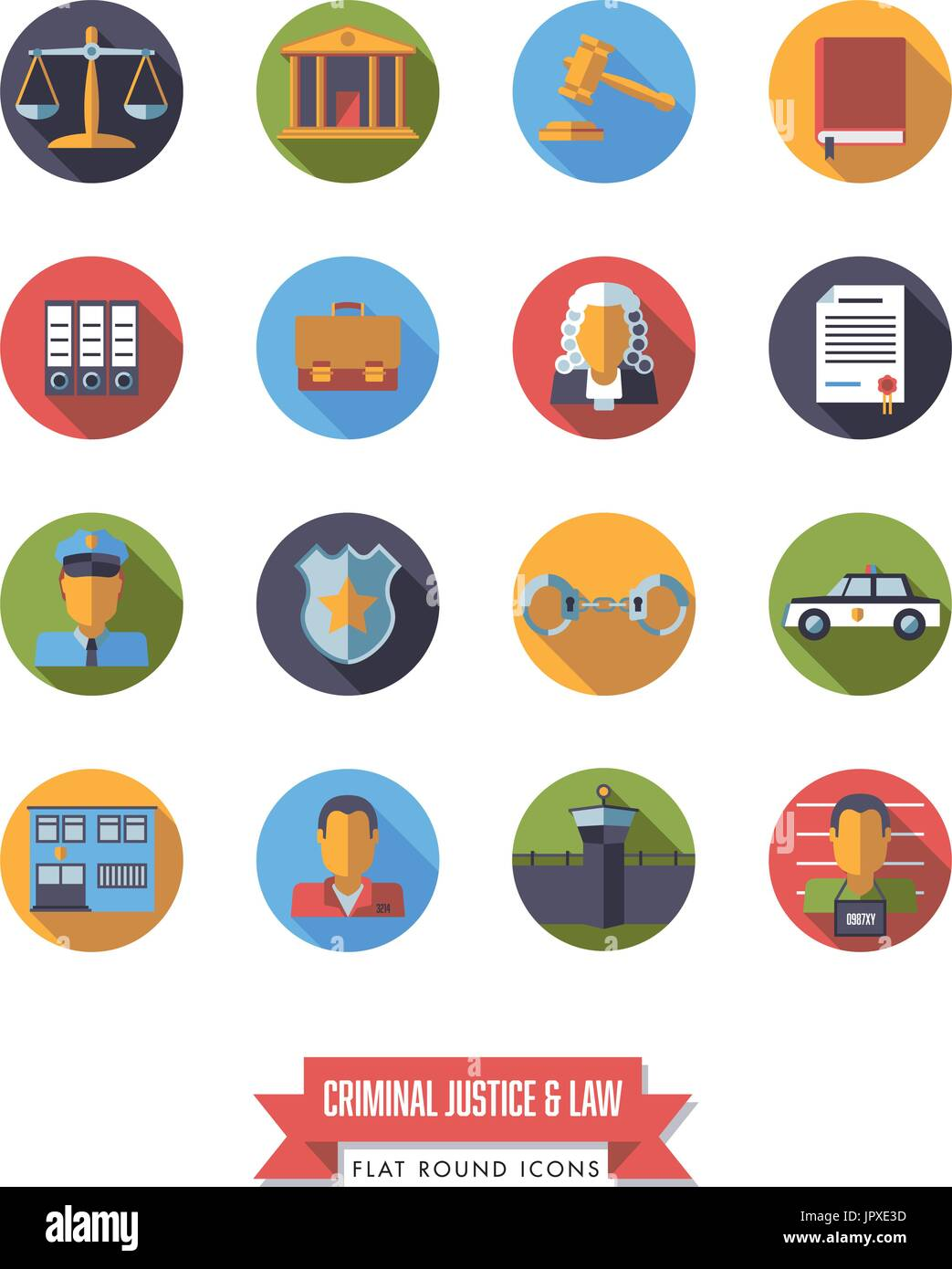 Collection of circular law and criminal justice icons. Flat design long shadow round symbols. - Stock Vector
