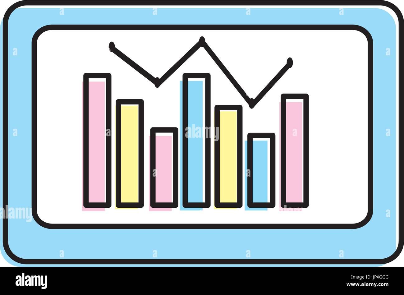 computer with statistics diagram bar - Stock Image