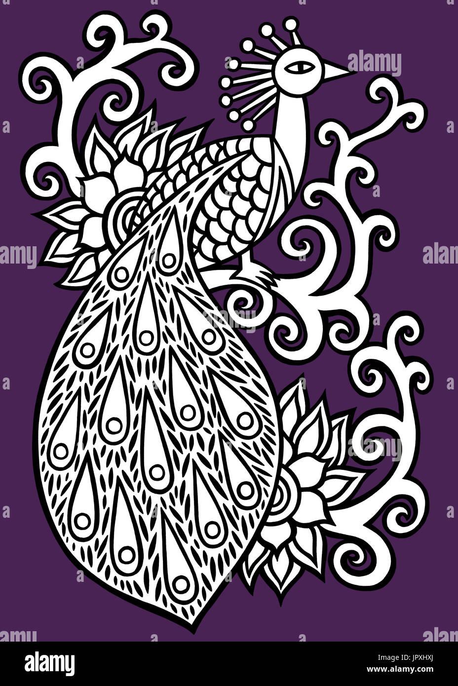 Purple peacock illustration. Stock Photo