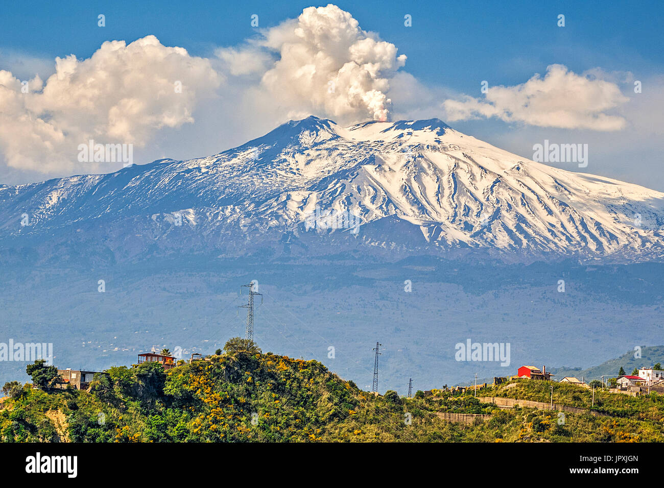 Steam Rising From Mount Etna Taormina, Italy - Stock Image