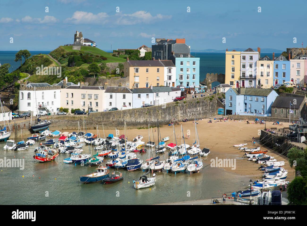 Tenby Harbour, Pembrokeshire, Wales, UK - Stock Image