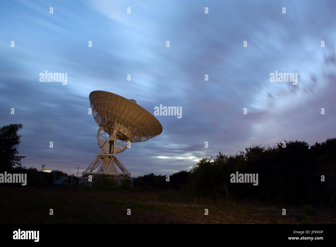 MERLIN or the Multi-Element Radio Linked Interferometer Network radio telescope at The Mullard Radio Observatory - Stock Image