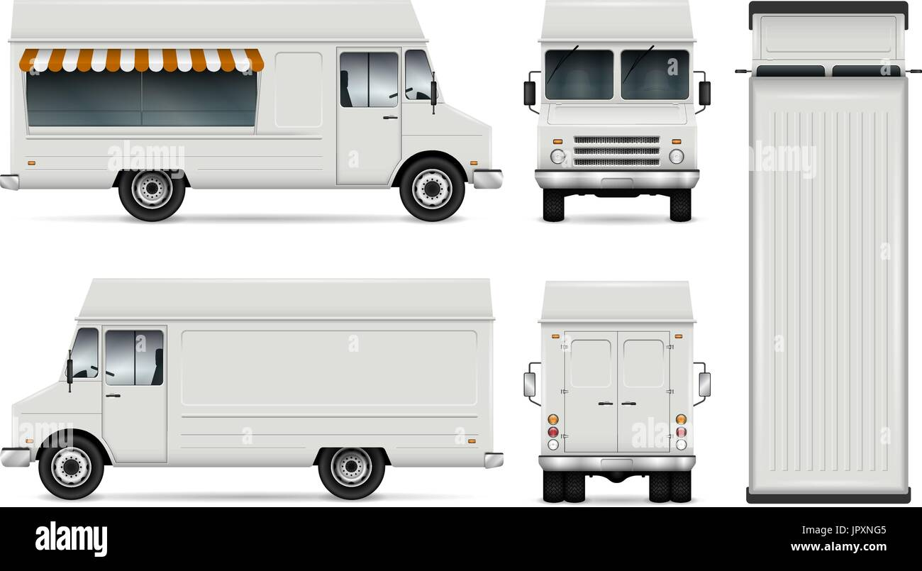 Food Truck Vector Template For Car Branding And