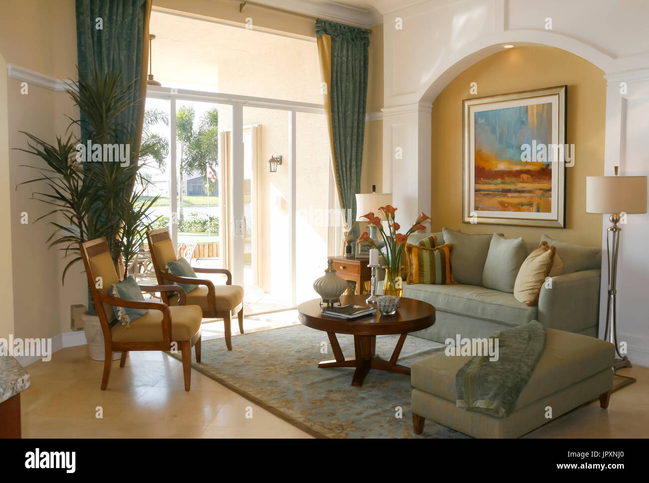 Decorated living room with earthy colors. - Stock Image