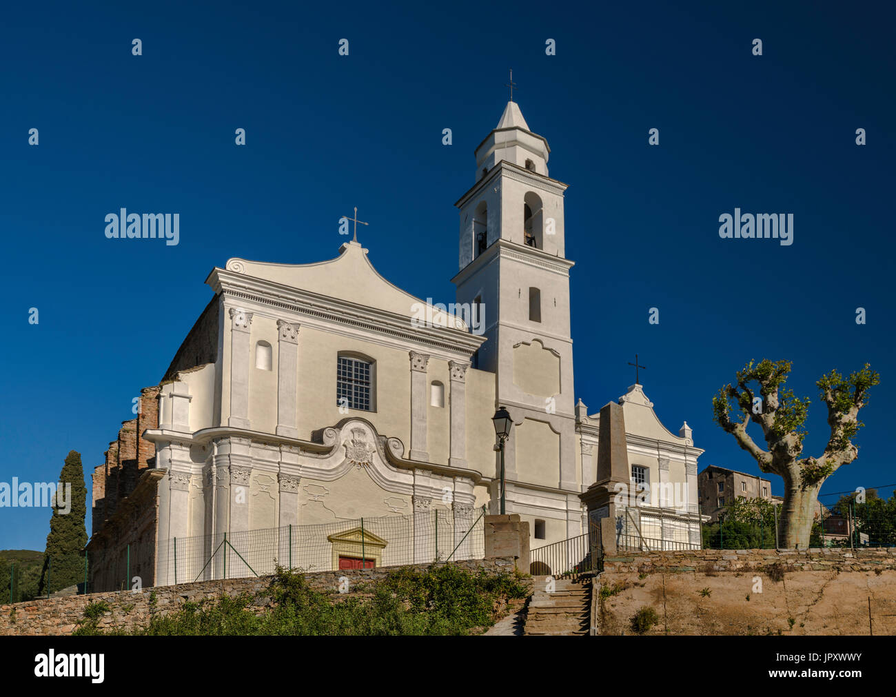 San Giovanni Evangelista Church, 16th century, in hillside village of Santo-Pietro-di-Tenda, Nebbio region, Haute-Corse, Corsica, France - Stock Image