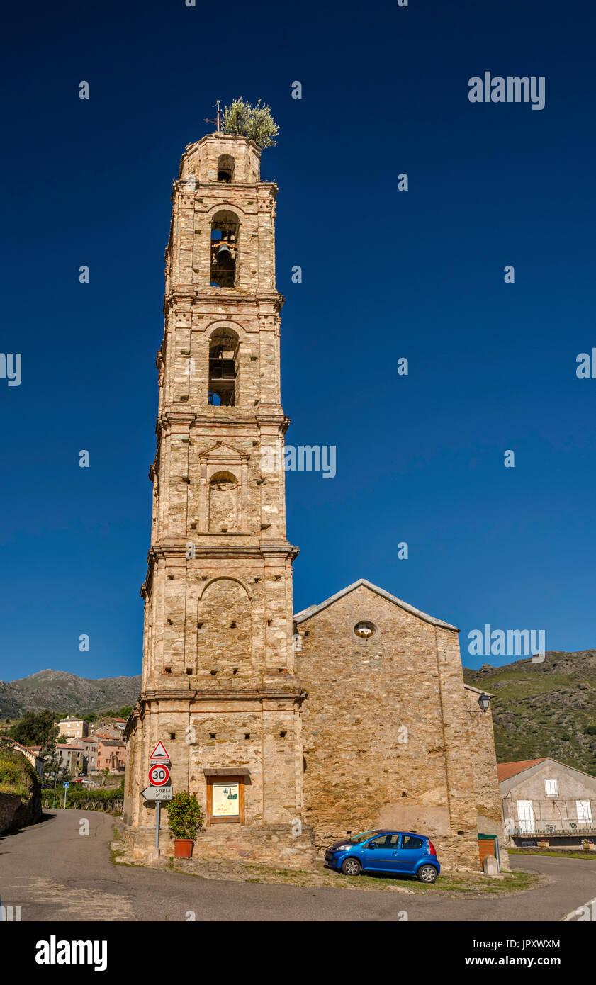 San Filippu Neri Church, 1622, in hill town of Sorio, Nebbio region, Haute-Corse, Corsica, France - Stock Image