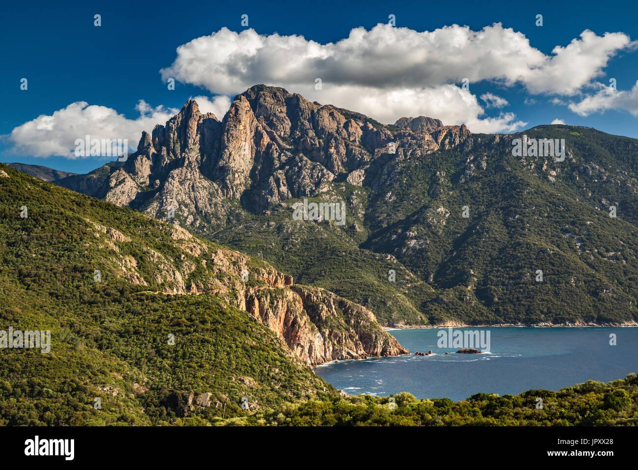 Capo d'Orto, Capo di u Vitullo behind, over Golfe de Porto, Mediterranean Sea, Corse-du-Sud, Corsica, France - Stock Image