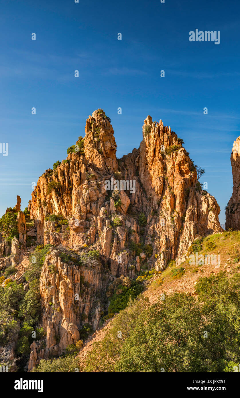 Orange porphyritic granite rocks, at Les Calanche de Piana, UNESCO World Heritage Site, Corse-du-Sud, Corsica, France - Stock Image