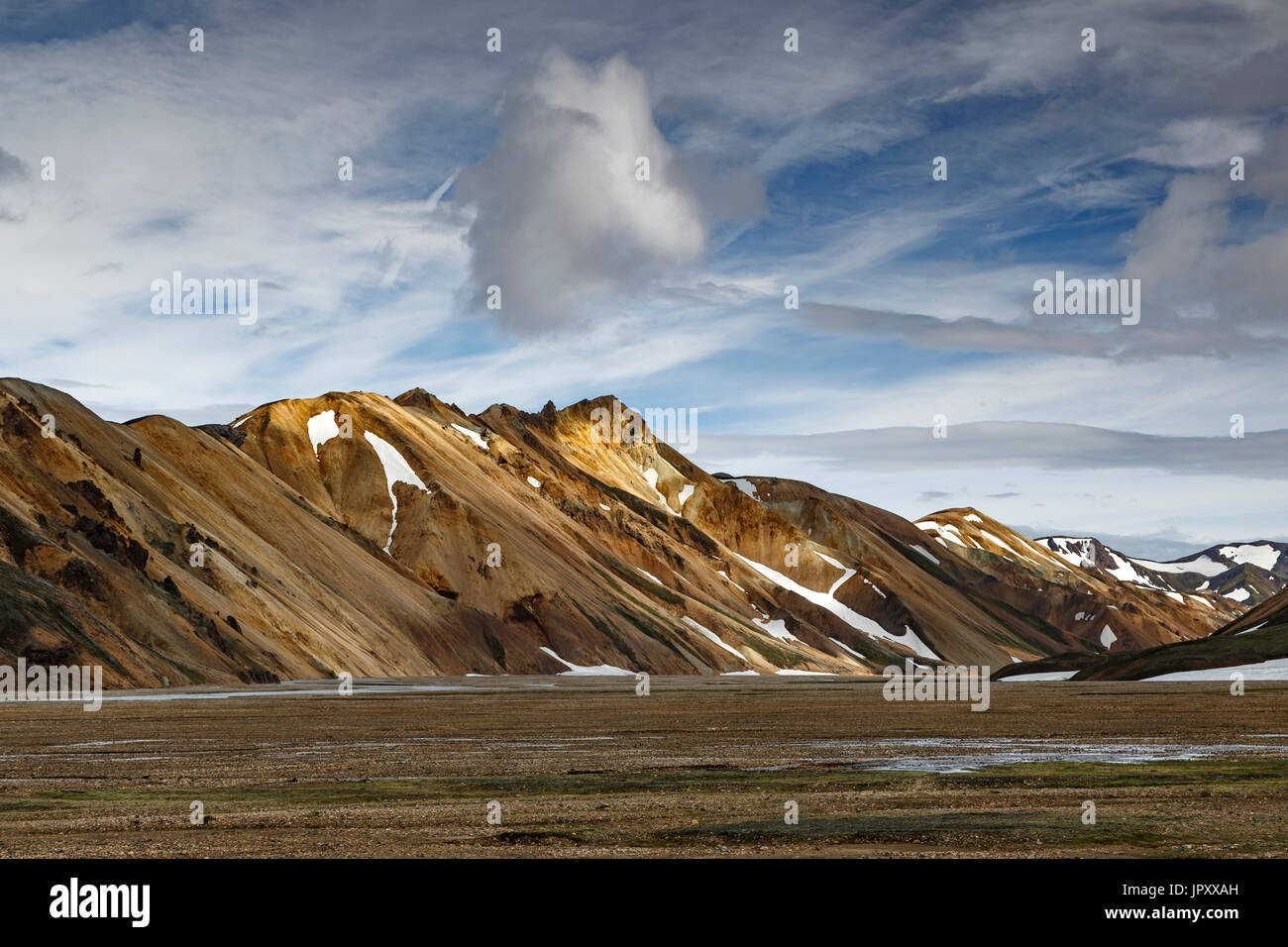 Rhyolite mountains near campground, Landmannalaugar, Fjallabak Nature Reserve, Iceland - Stock Image