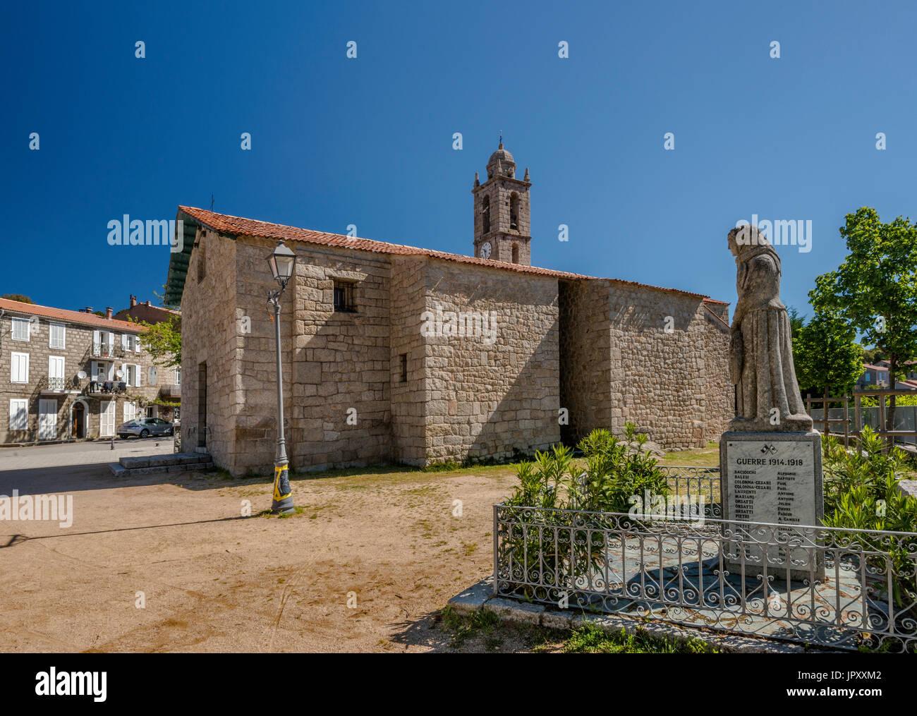 World War 1 Memorial, Church of Saint-Nicolas, 19th century, in Aullene, Alta Rocca microregion, Corse-du-Sud, Corsica, France - Stock Image