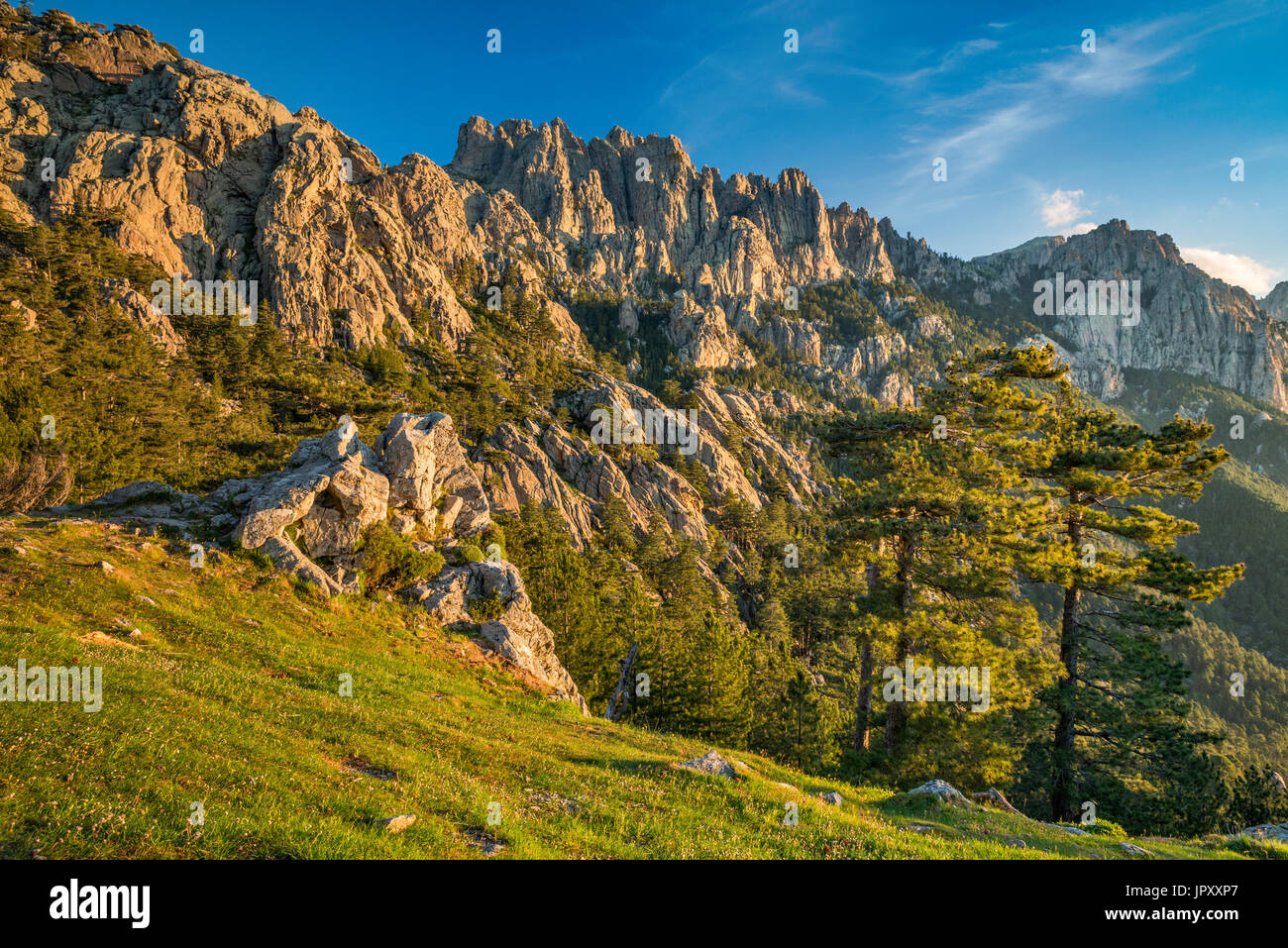 Aiguilles de Bavella, view at sunrise from Col de Bavella pass, Corse-du-Sud, Corsica, France - Stock Image