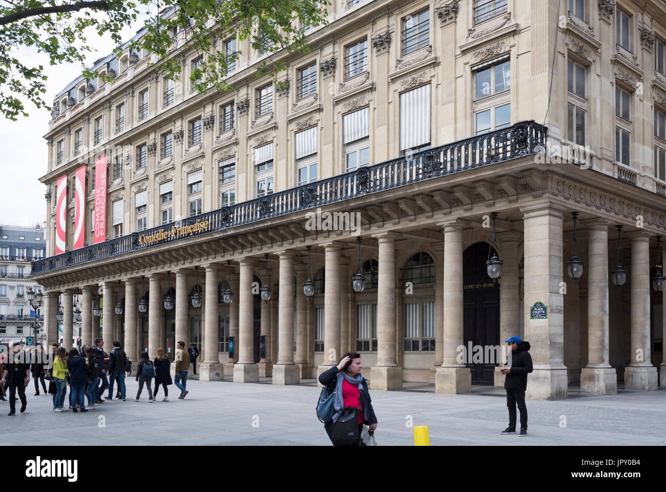 Paris,France- April 29, 2017:Theater Comedie Frances. Nearby there are pedestrians - Stock Image