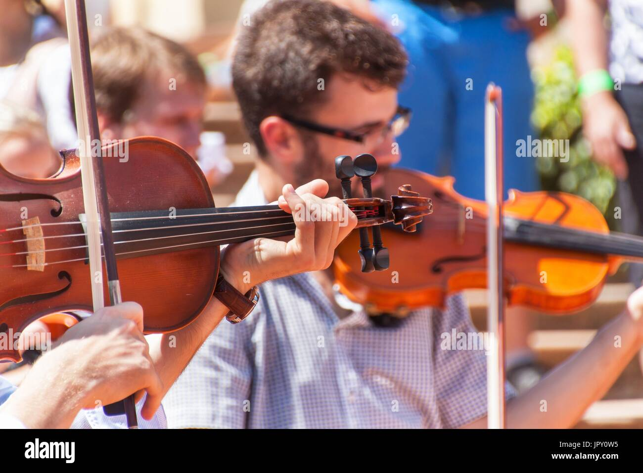 Buchlovice, Czech Republic, July 29, 2017: Man playing the violin at folk festivals in the castle Buchlovice . Traditional Stock Photo