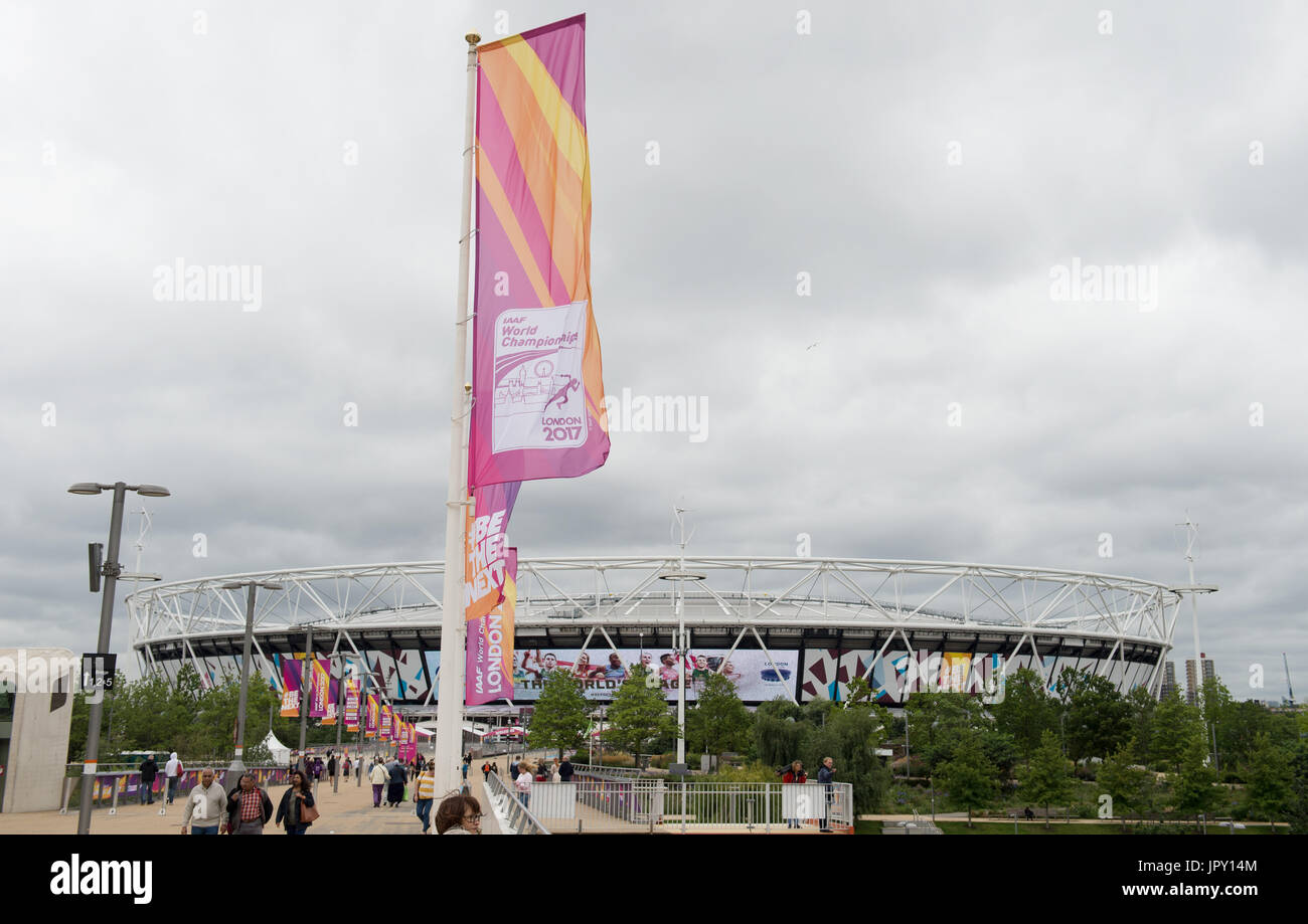 London, UK. 2nd Aug, 2017. Flags with the logo of the Athletics World Championships at the Olympic Stadium in London, Stock Photo