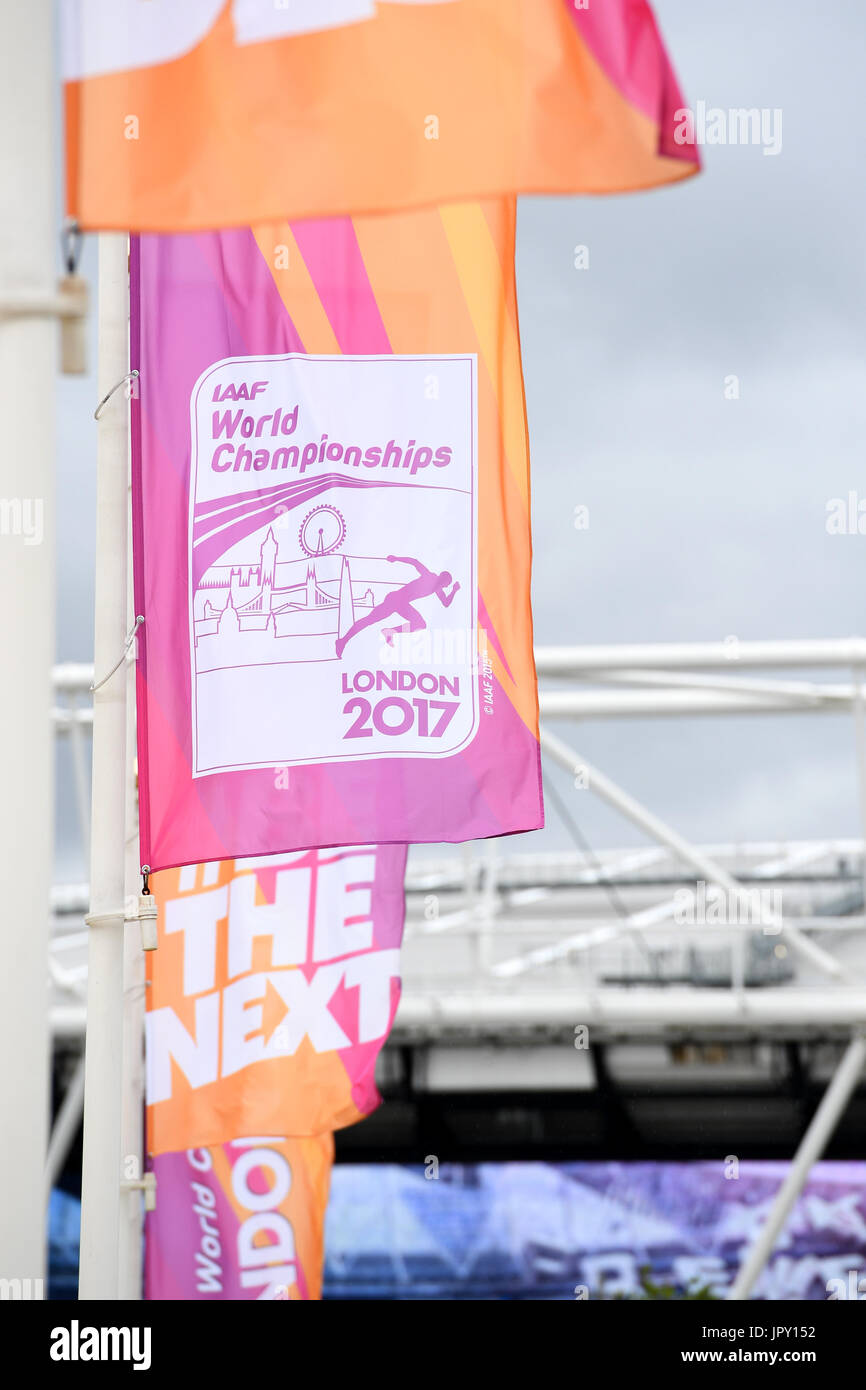 London, UK. 2nd Aug, 2017. Flags with the logo of the Athletics World Championships 2017 at the Olympic Stadium Stock Photo