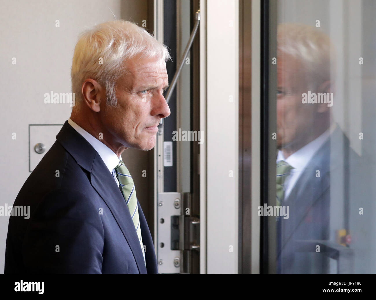 Matthias Mueller, Chairman of the Board at Volkswagen AG, leaves the Federal Ministry of the Interior after a summit Stock Photo