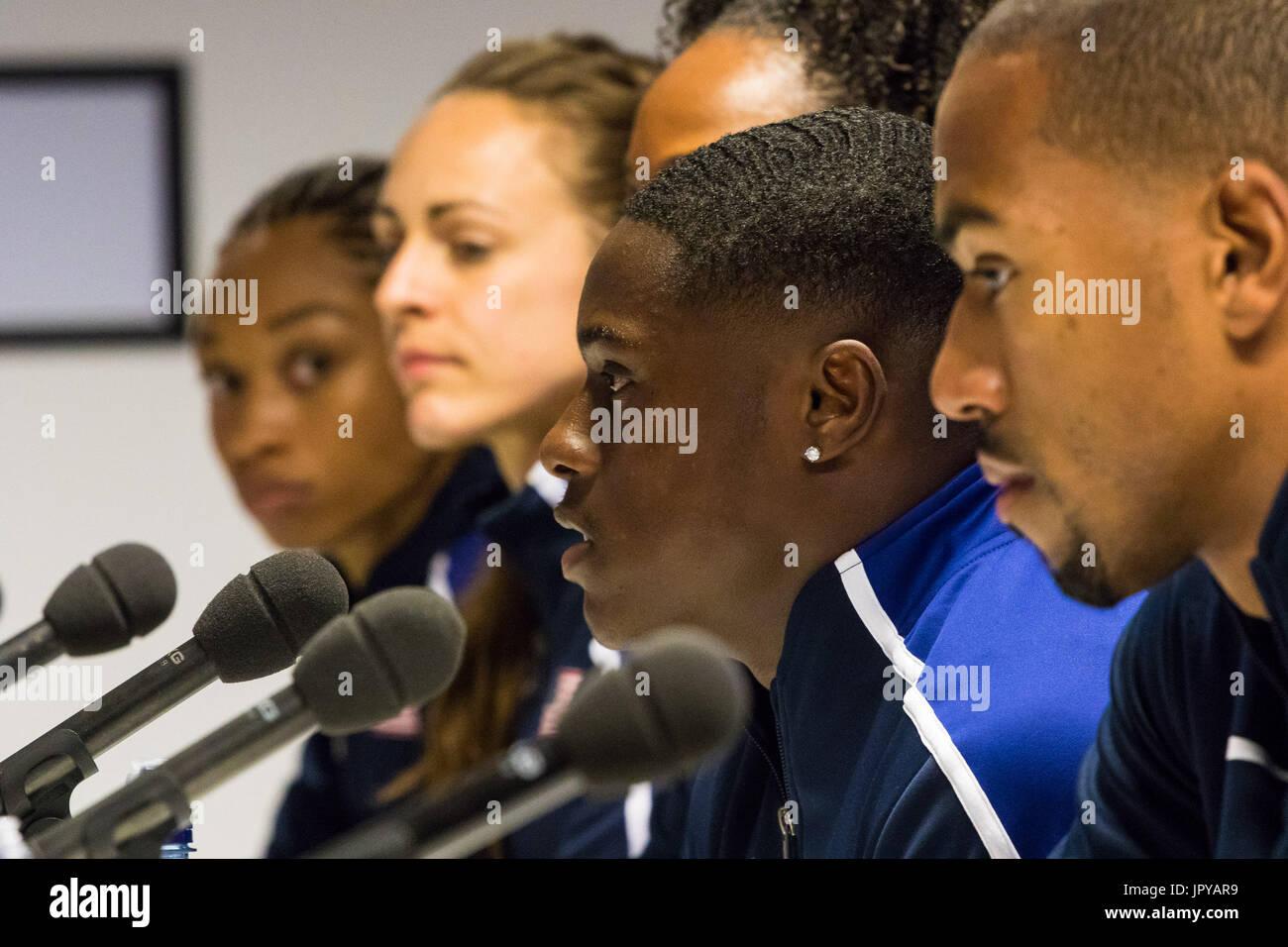 London, UK. 03rd Aug, 2017. London, 03 August 2017. Christian Coleman, 2016 Rio Olympian & 2017 100m world leader Stock Photo